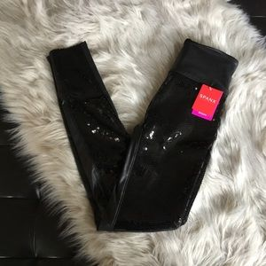 Spanx Faux Leather Sequin Leggings X-Small Black